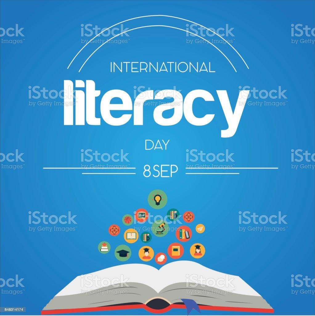 International Literacy Day, 8th September. vector art illustration