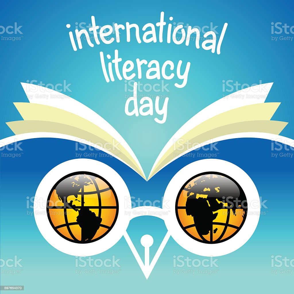 International literacy day. Eyes of owl - hemispheres of globe. vector art illustration