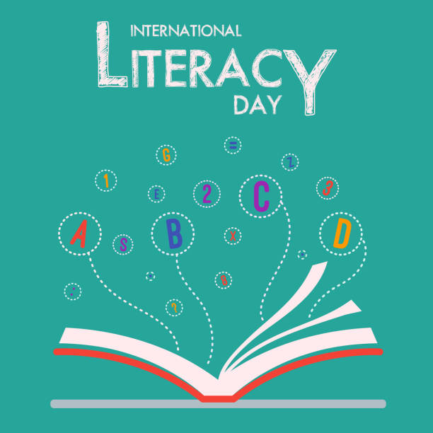 International Literacy Day with Book and Flying Alphabet Vector Illustration International Literacy Day with Book and Flying Alphabet Vector Illustration spelling stock illustrations