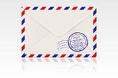 International mail envelope backside with postal stamps