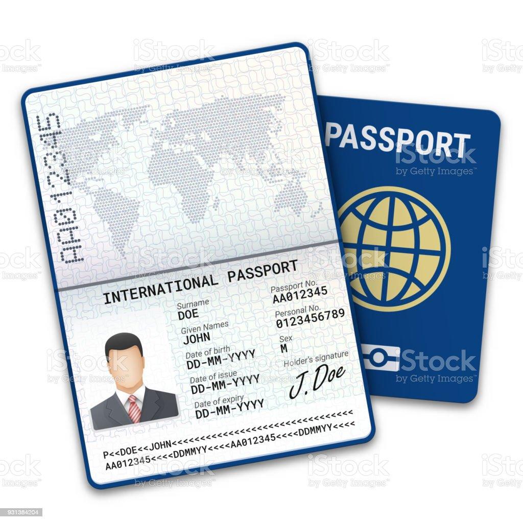 Ilustración de Plantilla De Hombre Pasaporte Con Datos Biométricos ...