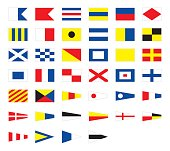 International maritime signal nautical flags, for print or internet, isolated on white background. Best for education.