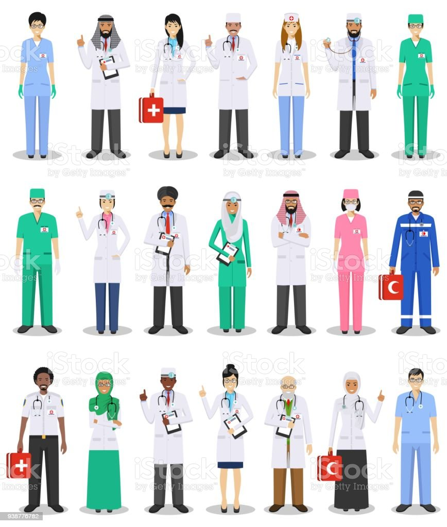 International medical concept. Detailed illustration of doctor and nurses in flat style isolated on white background. Practitioner doctors man and woman standing in different positions. Vector illustration. vector art illustration