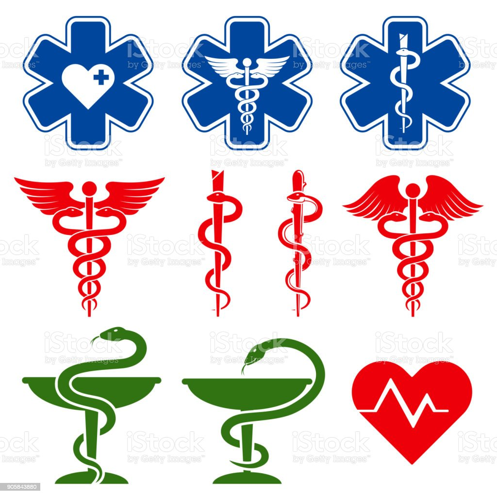 International medical, pharmacy and emergency care vector symbols - arte vettoriale royalty-free di A forma di stella