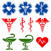 International medical, pharmacy and emergency care vector symbols. Medical glyph collection illustration