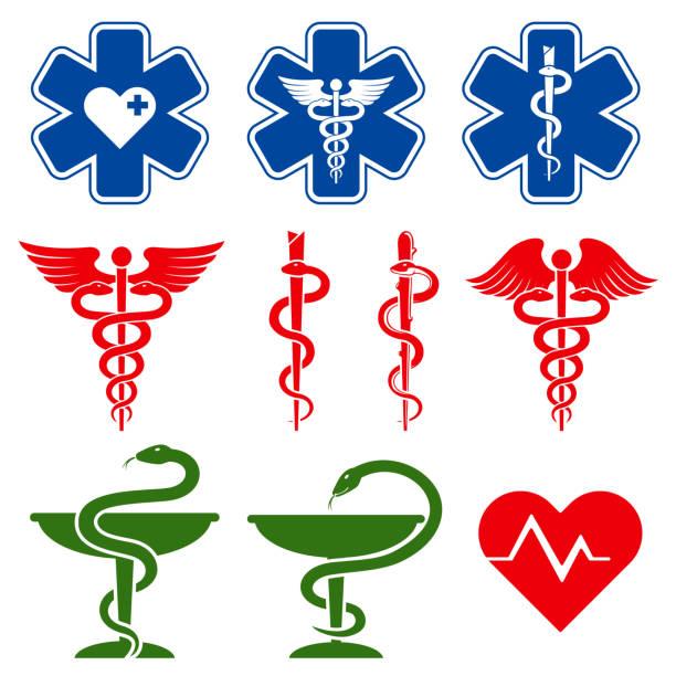 illustrazioni stock, clip art, cartoni animati e icone di tendenza di simboli vettoriali internazionali di medicina, farmacia e assistenza di emergenza - farmacia
