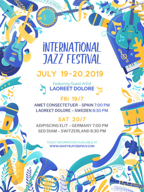 szablon wektora plakatu międzynarodowego konkursu muzycznego - instrument muzyczny stock illustrations