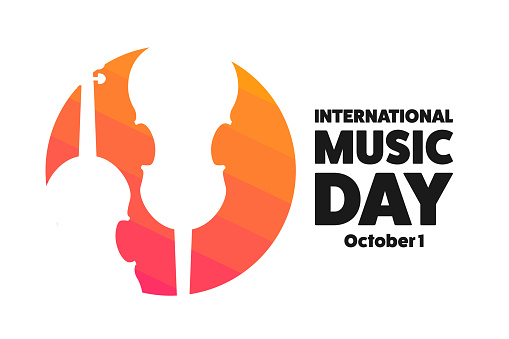 International Music Day. October 1. Holiday concept. Template for background, banner, card, poster with text inscription. Vector EPS10 illustration.