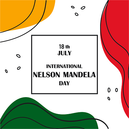 International Nelson Mandela Day concept. Celebrated annually on July 18. Abstract banner, poster, brochure, flyer template.