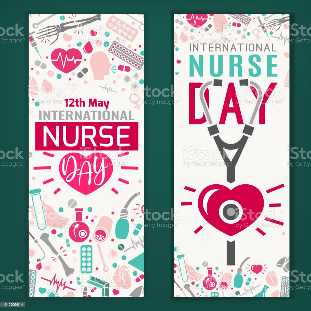 Bannières de jour infirmière international - Illustration vectorielle
