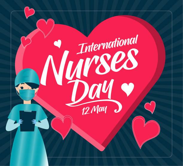 International Nurses Day, Celebration Concept Design. Post. International Nurses Day, Celebration Concept Design. male nurse stock illustrations