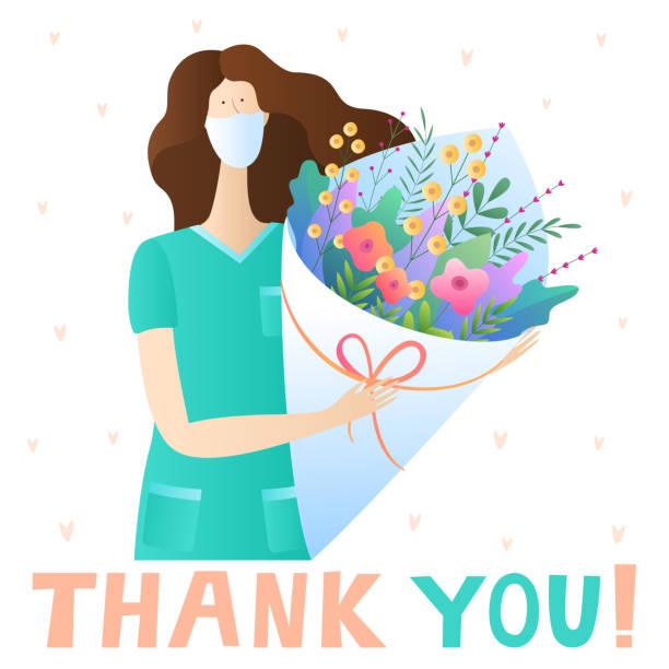 illustrations, cliparts, dessins animés et icônes de journée internationale des infirmières. carte de vœux de vacances. infirmière avec un bouquet de fleurs. - aide soignant