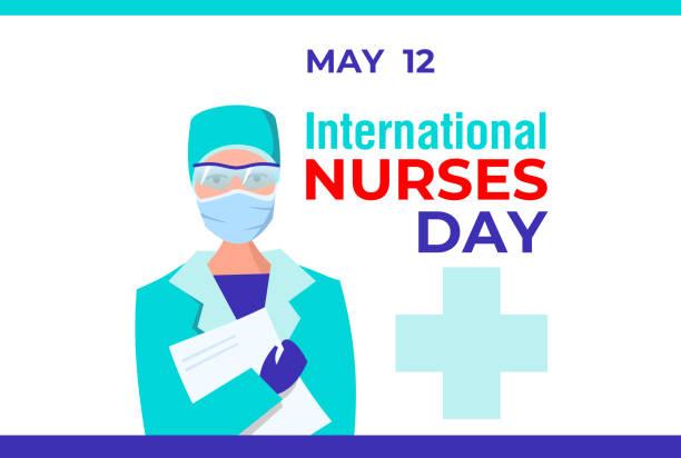 國際護士日。向量橫幅,卡片,社交媒體海報。戴著防護眼鏡、手套和帶資料夾的口罩的女護士。感謝護士對抗病毒和感染 - 國家名勝 幅插畫檔、美工圖案、卡通及圖標