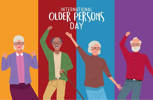 international older persons day lettering with group of grandparents celebrating vector illustration design