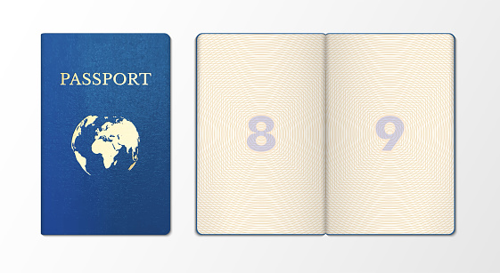 International passport realistic template, sample. Front side, blue cover. Page of document, certifying identity, nationality of holder, purpose of international travel. Vector illustration on white.