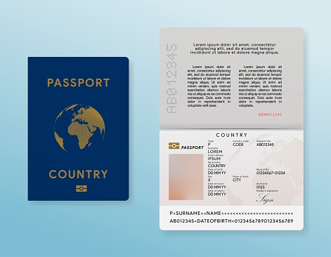 International passport template. Traveler id card mock up. Personal data document. Foreigner pass. Realistic identity page. Vector illustration.