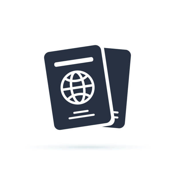 illustrations, cliparts, dessins animés et icônes de icône de passeport international de vecteur. rempli plat signe pour la conception de web et mobile. icône simple de documents de voyage. - passeport et visa