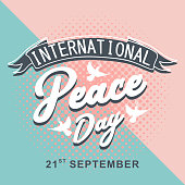 International Peace Day pop art style greeting design with vintage retro popular hipster combination theme vector illustration for web display and print.