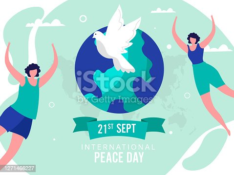 International Peace Day Poster Design with Faceless Young Girls Dancing or Jumping, Dove Bird and Earth Globe on Green Background.