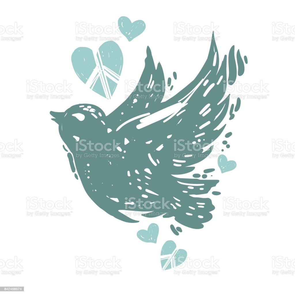 International peace day poster with flying bird