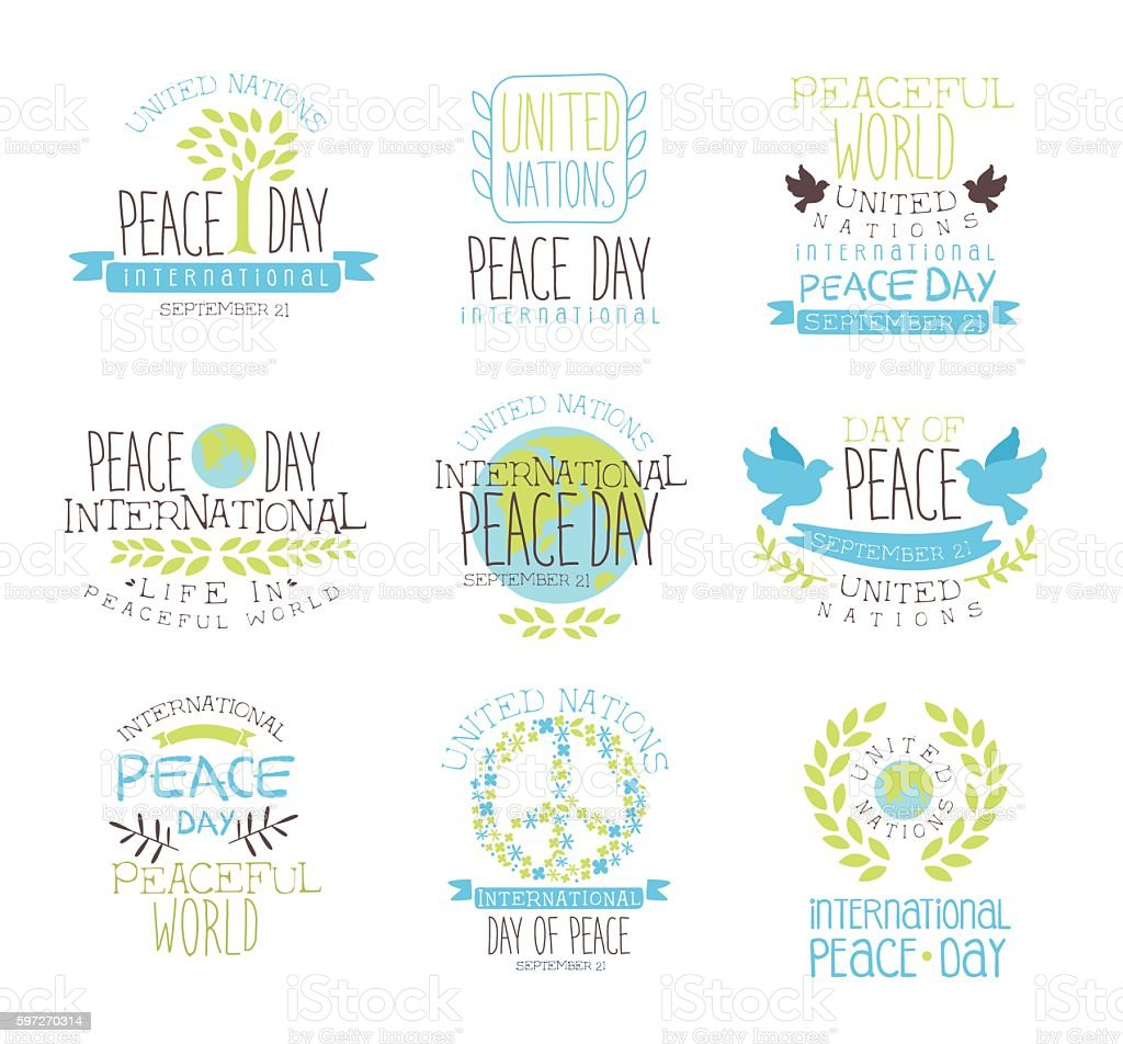 International Peace Day Set Of Label Designs In Pastel Colors royalty-free international peace day set of label designs in pastel colors stock vector art & more images of backgrounds