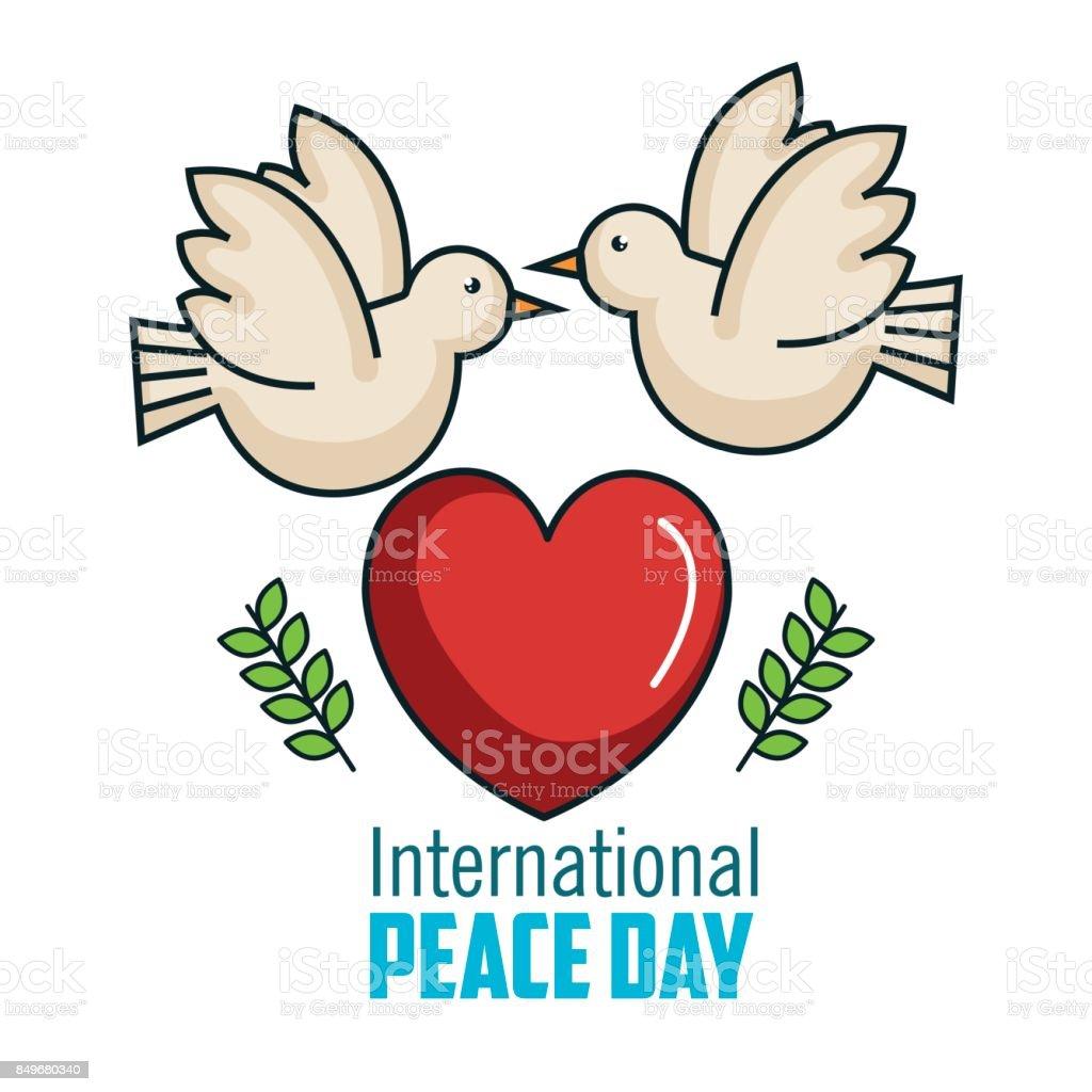 Ilustración de Dos Paloma Día Internacional Por La Paz Junto Amor De ...