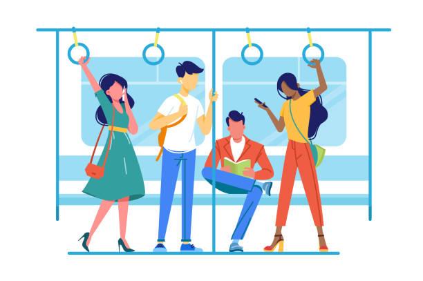 illustrations, cliparts, dessins animés et icônes de les gens internationaux vont à métro, souterrain à leurs occupations. - métro