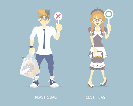 international plastic bag free day,  nature earth day with man and woman holding plastic bag, cloth bag, save world pollution concept
