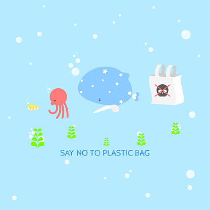 international plastic bag free day with fish,whale,octopus in the sea ocean save nature world earth pollution logo label icon in blue background