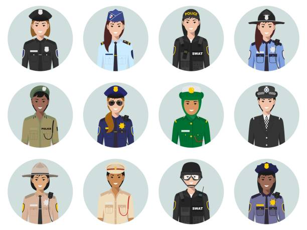 International police concept. Different policeman characters avatars icons set in flat style. Illustrations of sheriff, gendarme and policewoman. Vector illustration. vector art illustration