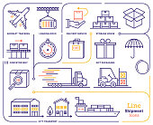 Line icon vector illustrations of international shipping, global vessel tracking, aircraft and ship tracking.