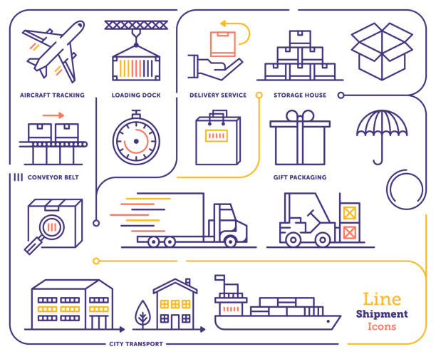 illustrazioni stock, clip art, cartoni animati e icone di tendenza di international shipping & tracking line icon set - logistica