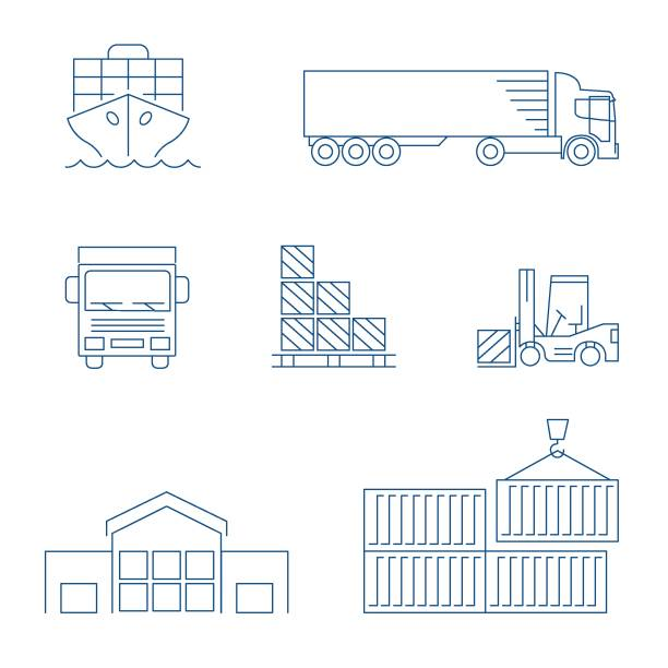 international shipping & tracking line icon set - container stock-grafiken, -clipart, -cartoons und -symbole