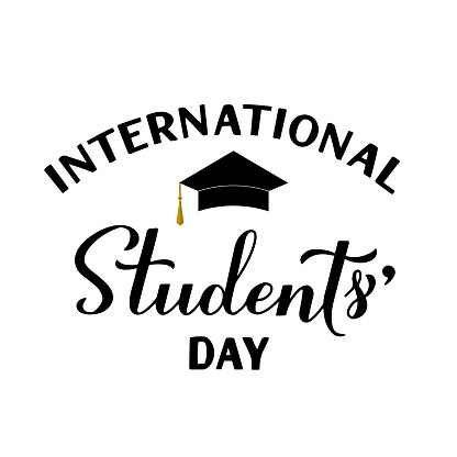 International Students Day calligraphy hand lettering isolated on white. Holiday celebrate on November 17. Vector template for typography poster, banner, flyer, sticker, t-shirt, greeting card, etc.
