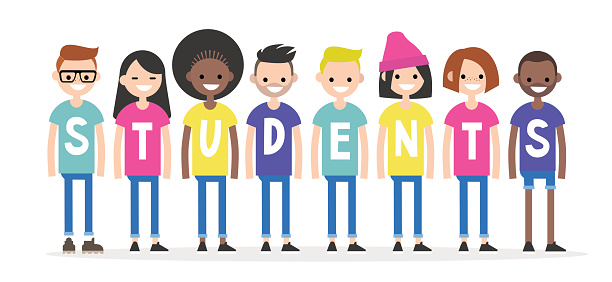 International students wearing colourful t-shirts. University life conceptual illustration. Multiracial group of young students. Flat editable characters, clip art