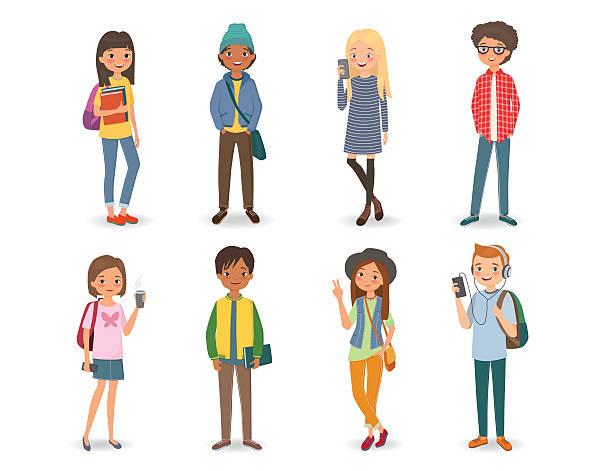 internationale studenten mit büchern, handys und rucksäcken - jugendalter stock-grafiken, -clipart, -cartoons und -symbole