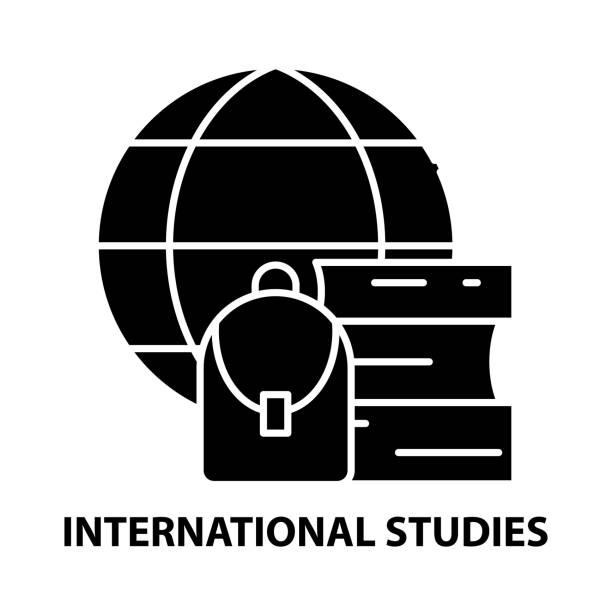 ilustrações de stock, clip art, desenhos animados e ícones de international studies icon, black vector sign with editable strokes, concept illustration - teacher school solo