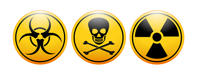 international symbols for biohazard, toxicity. radioactivity icon