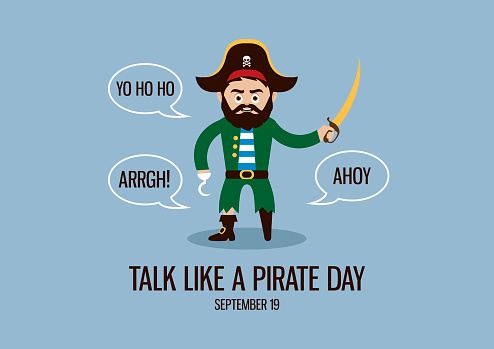 Sea captain with wooden leg and hook vector. Talking pirate cartoon character. Funny holiday. Talk Like a Pirate Day Poster, September 19. Important day