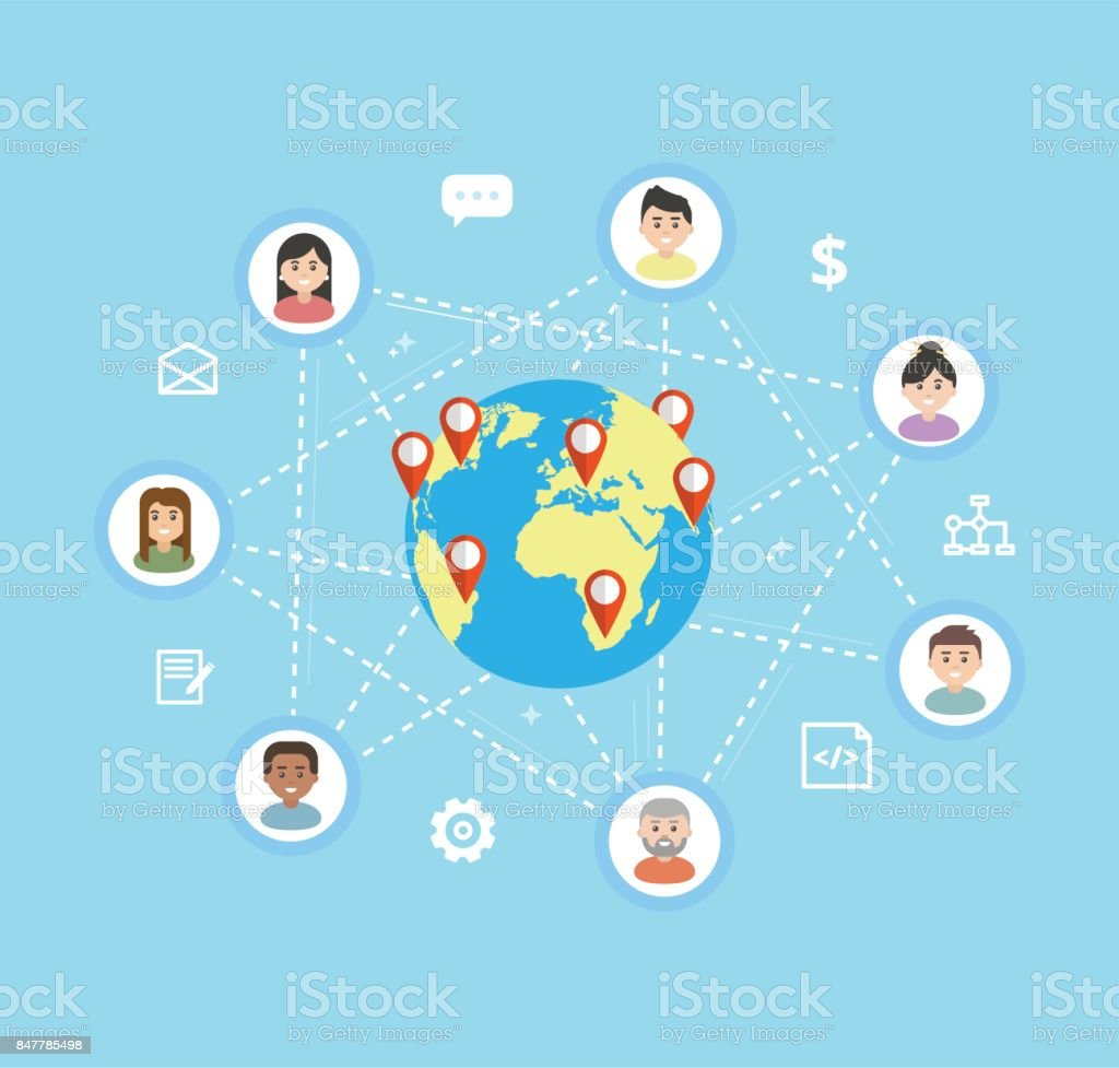 International Teamwork - vector flat illustration. Remote team work on a common project, freelance concept. Workers icons are linked around the globe. vector art illustration