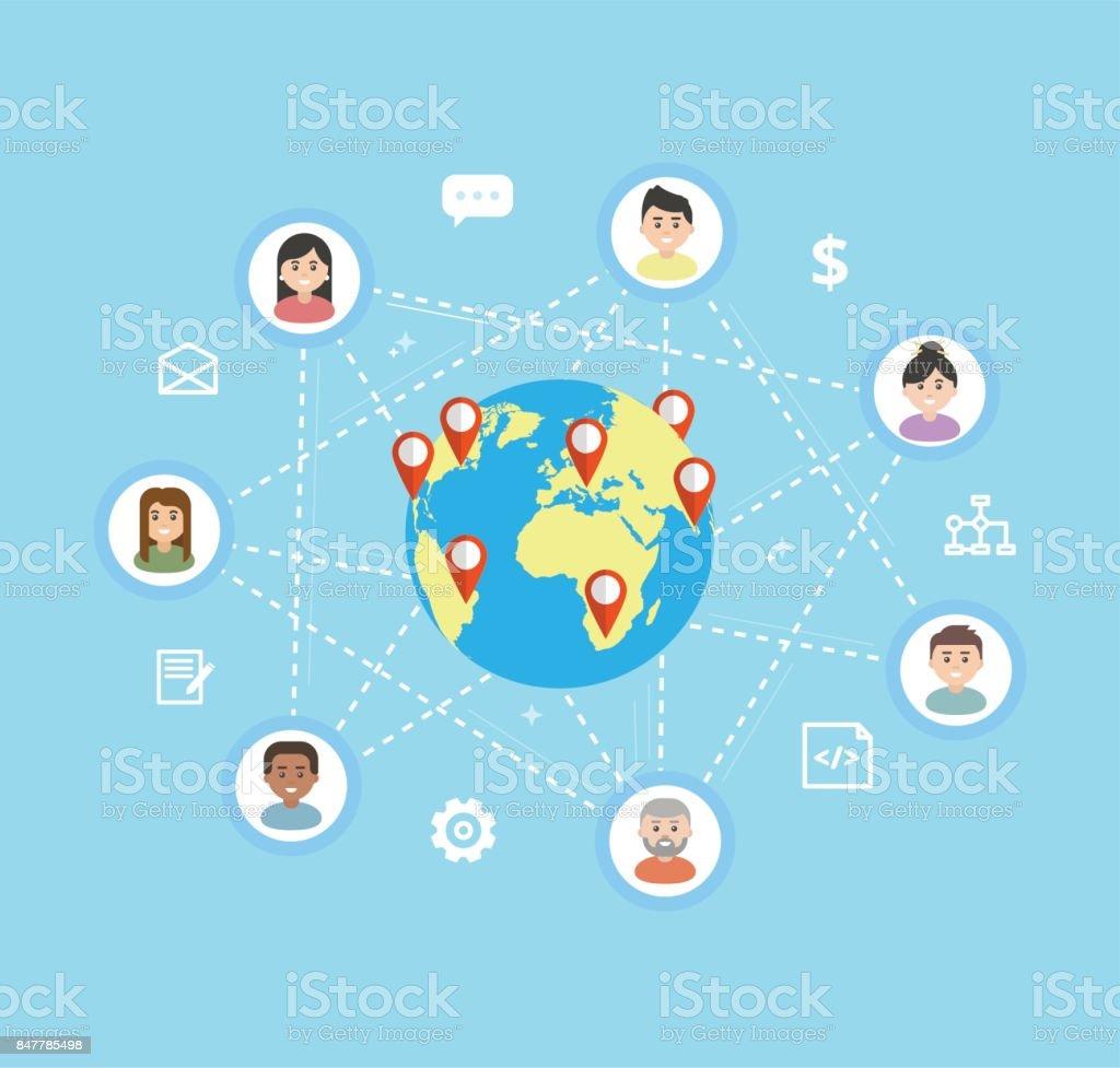 Equipo internacional - vector ilustración plana. Equipo remoto trabaja en un proyecto común, concepto freelance. Los iconos de los trabajadores están conectados alrededor del mundo. - ilustración de arte vectorial