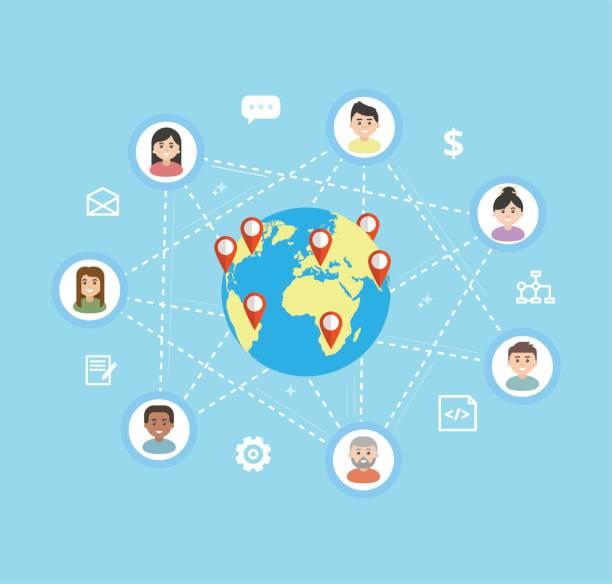 internationale teamarbeit - flache vektorgrafik. remote-team arbeiten an einem gemeinsamen projekt, freiberuflicher konzept. arbeitnehmer-symbole sind auf der ganzen welt verbunden. - abgeschiedenheit stock-grafiken, -clipart, -cartoons und -symbole