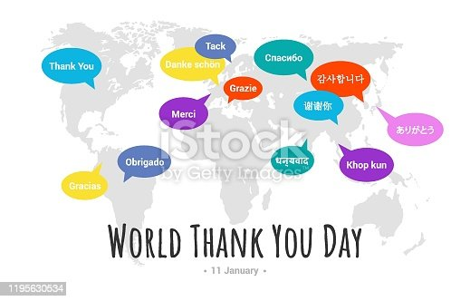 istock International Thank You Day. Greeting card with bubbles and lettering Thank you 1195630534