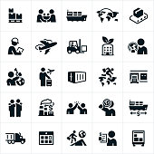 Icons related to international trade and business. The icons include trade deals, international shipping, exports, imports and other related concepts.