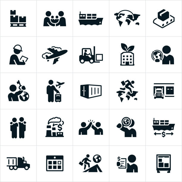 International Trade Icons Icons related to international trade and business. The icons include trade deals, international shipping, exports, imports and other related concepts. container ship stock illustrations