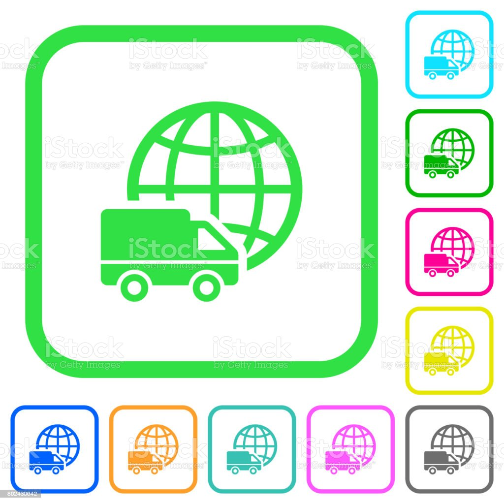 International transport vivid colored flat icons icons vector art illustration