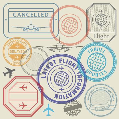 International travel visa marking, business travel and immigration vintage labels, travel stamps set