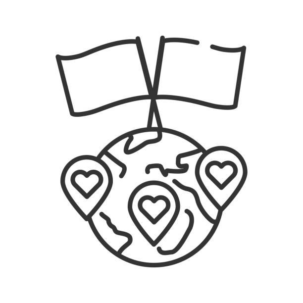 stockillustraties, clipart, cartoons en iconen met internationaal vrijwilligerswerk zwarte lijn icoon. non-profit gemeenschap. liefdadigheid, humanitaire hulp concept. teken voor webpagina, mobiele app, banner, sociale media. editatable beroerte. - non profit