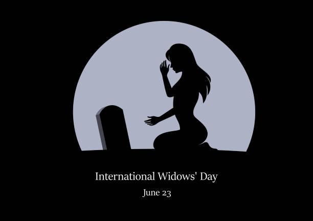 stockillustraties, clipart, cartoons en iconen met international weduwen dag vector - funeral crying