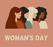 International woman's day card. Diverse female portraits of different nationalities and cultures isolated from the background. Vector concept of the females empowerment movement.
